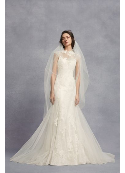 Appliqued Chantilly Lace Trumpet Wedding Dress - Organically placed lace appliques float atop the modern