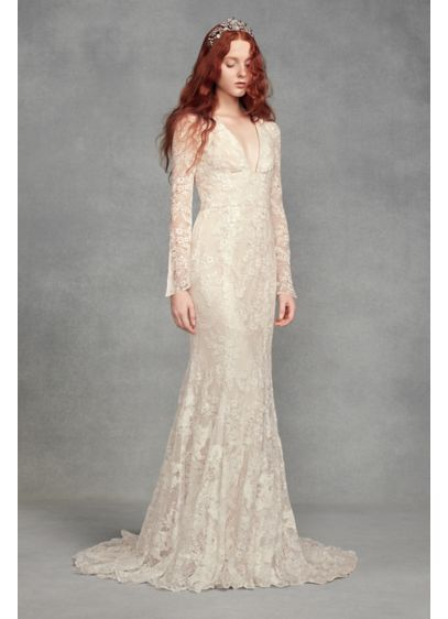 Lace Wedding Dress With Sleeves.White By Vera Wang Bell Sleeve Lace Wedding Dress