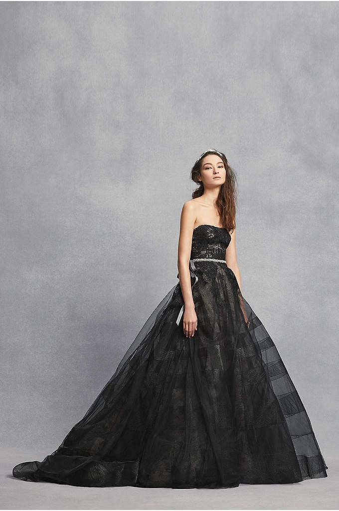 Black Lace Wedding Dress with Tiered Horsehair - This White by Vera Wang strapless wedding dress