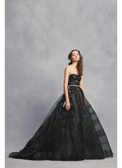 Black Lace Wedding Dress With Tiered Horsehair Davids Bridal