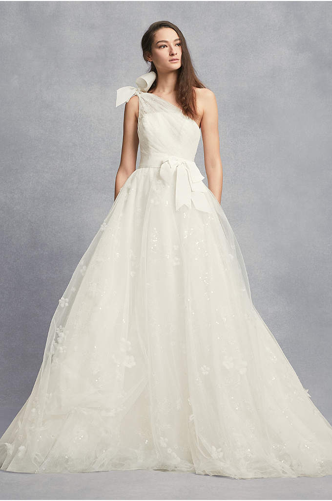 Layered Tulle One-Shoulder A-Line Wedding Dress - This one-shoulder wedding dress from White by Vera
