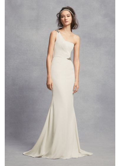 One-Shoulder Sheath Wedding Dress with Crystals | David\'s Bridal