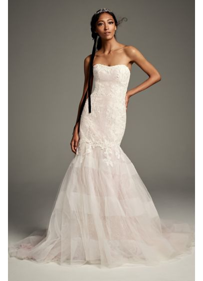 Lace Trumpet Wedding Dress with Banded Skirt - The soft and subtle glow of this strapless