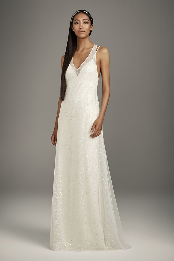 Satin Slip Dress with T-Back Sequin Tulle Overlay
