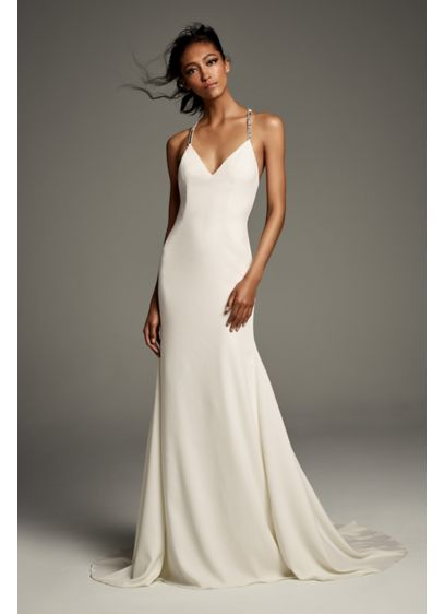 Crystal T-Back Stretch Crepe Slip Gown with Ribbon - This slinky stretch crepe slip gown is elevated