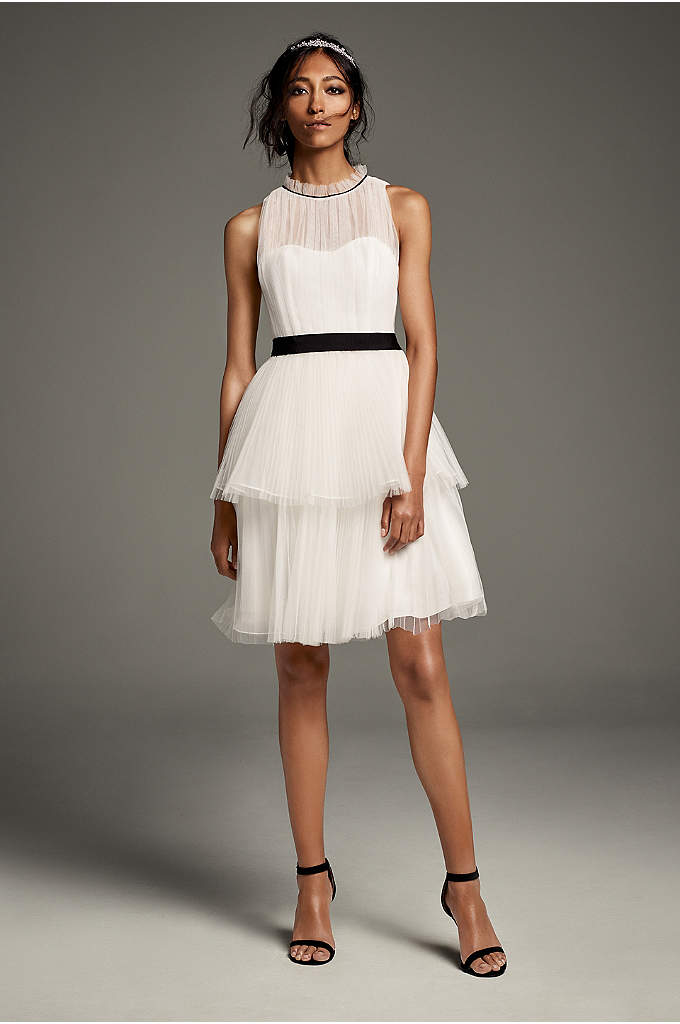 Illusion High-Neck Tiered Tulle Short Dress - Black grosgrain ribbons define the high, pleated neck
