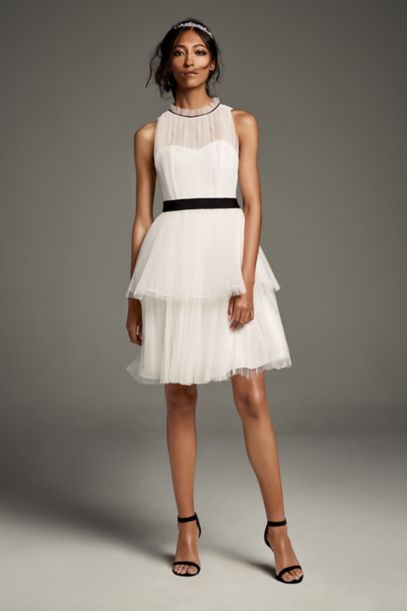 Illusion High Neck Tiered Tulle Short Dress