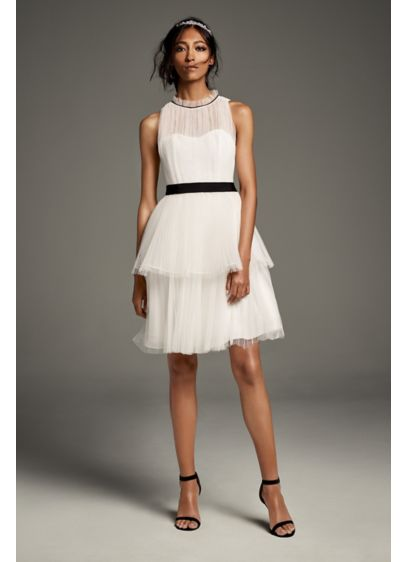 Short A-Line Formal Wedding Dress - White by Vera Wang