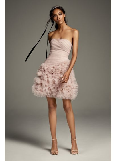 Draped Tulle Mini Dress with 3D Floral Skirt - This playful mini is inspired by the iconic