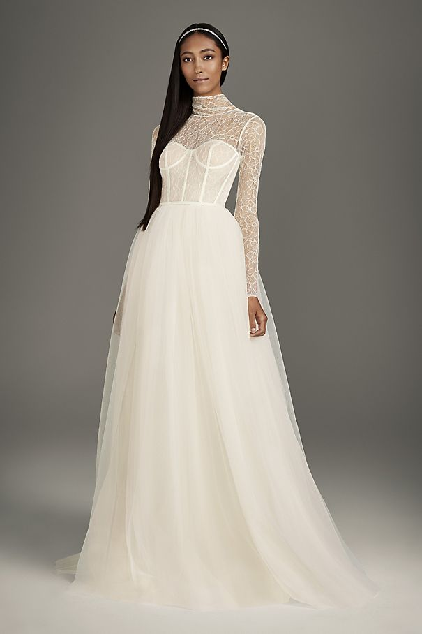 High-Neck Lace and Tulle Corset Wedding Dress