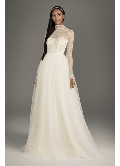 Long Ballgown Formal Wedding Dress - White by Vera Wang