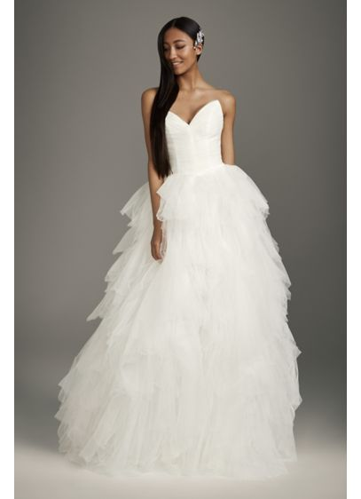 Peaked Sweetheart Tulle Ball Gown Wedding Dress - The peaked and pleated sweetheart bodice of this