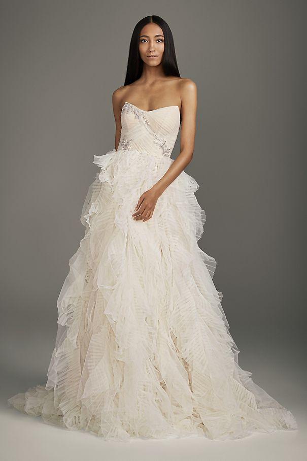 Jeweled Applique Pleated Organza Wedding Dress