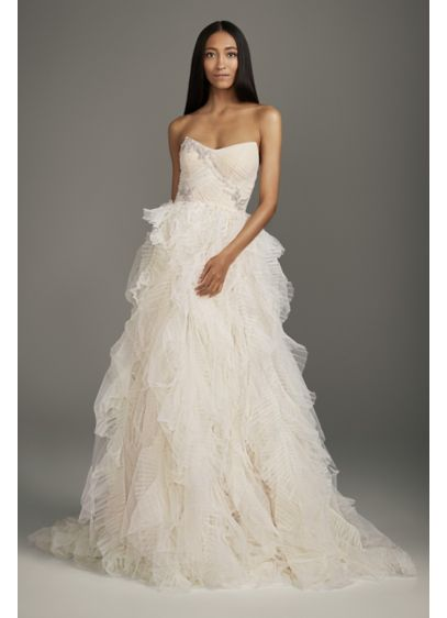 Jeweled Applique Pleated Organza Wedding Dress - This voluminous strapless ball gown wedding dress is