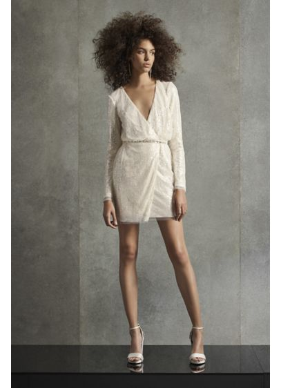 White by Vera Wang Wrap Sequin Mini Dress - Perfect for the contemporary bride, this wrap-style mini
