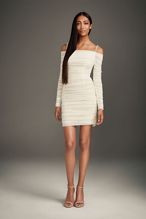 Mini Dress with Off-the-Shoulder Long Sleeves