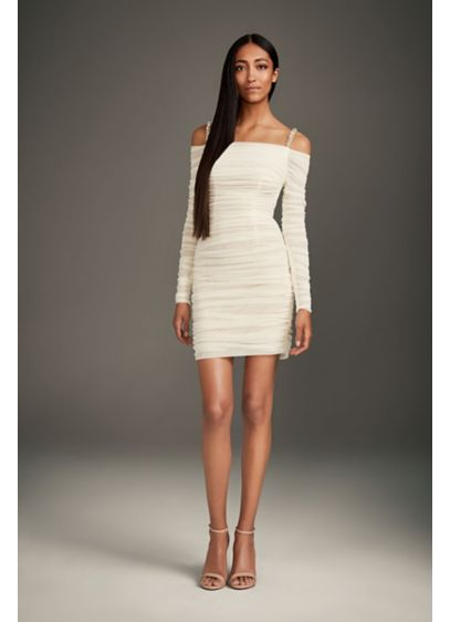 Mini Dress with Off-the-Shoulder Long Sleeves - Allover ruched stretch-tulle gives this body-skimming, long sleeve