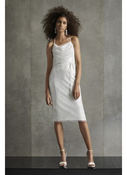 White by Vera Wang Sequin T-Back Cowl Dress - This mid-length sequin dress is detailed delicate spaghetti