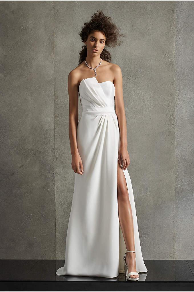 White By Vera Wang Pleated Bow Wedding Dress David S Bridal