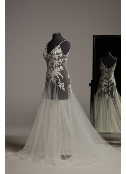 White by Vera Wang Floral Applique Tulle Overdress - Adorned with subtle sparkle, this tulle wedding overdress