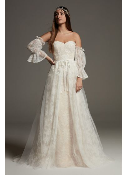 White by Vera Wang Lace Overskirt Wedding Dress - Featuring two fashion-forward trends, a removable overskirt and