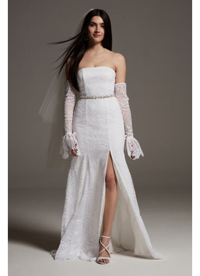 White by Vera Wang Fern Lace Wedding Dress - An elegant strapless dress with sexy statement details,