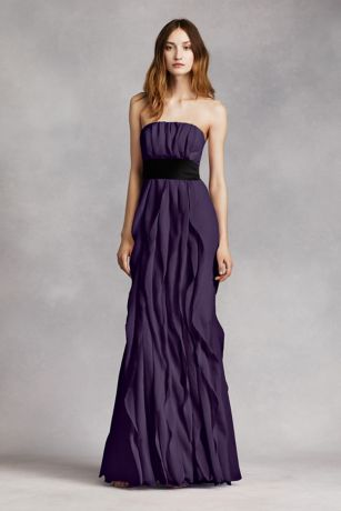 Strapless Chiffon Bridesmaid Dresses Charcoal