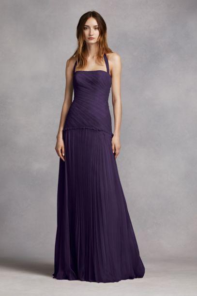 Halter Bobbin Net Drop Waist Pleated Skirt Dress David S