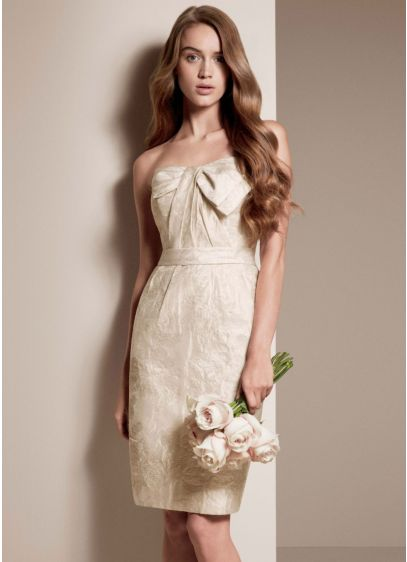 Short Sheath Modern Wedding Dress - White by Vera Wang