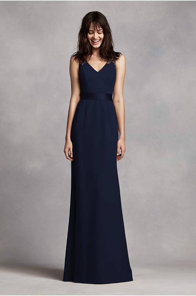 Long V Neck Crepe Gown with Open Back - You will look alluring in this elegant crepe