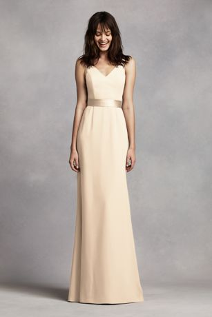 Soft & Flowy White by Vera Wang Long Bridesmaid Dress