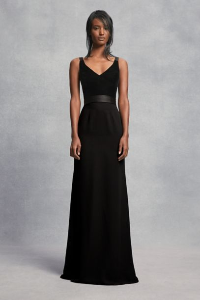 Crepe and Velvet Bridesmaid Dress with Open Back   David's Bridal