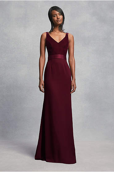 Crepe and Velvet Bridesmaid Dress with Open Back