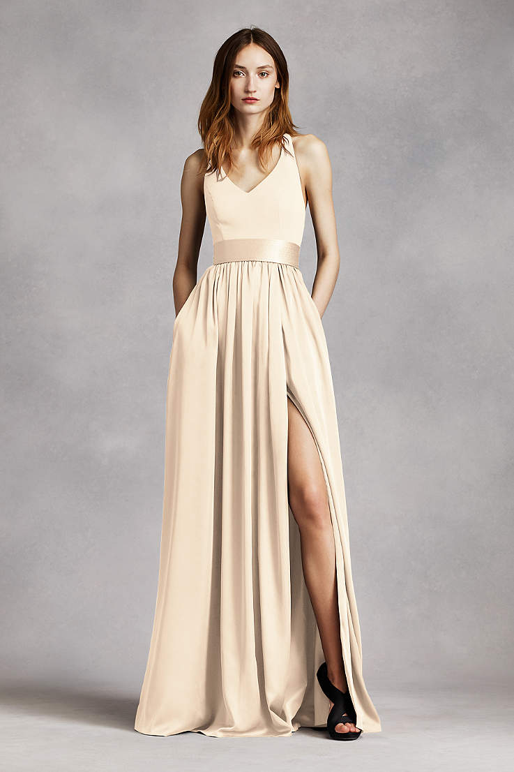 c943adb9bd384b Soft & Flowy White by Vera Wang Long Bridesmaid Dress