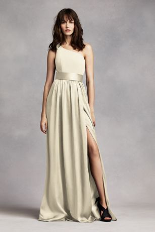 47b2d46bdc76e Soft   Flowy White by Vera Wang Long Bridesmaid Dress
