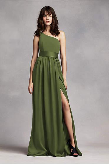 One Shoulder Dress with Satin Sash