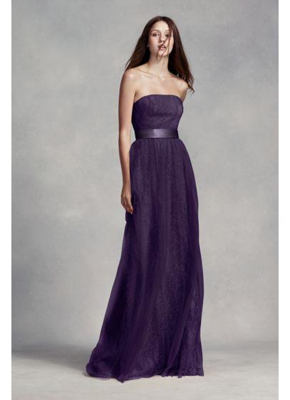 long lace dress  tulle overlay  satin sash davids bridal