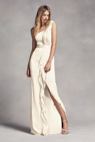 Long Sheath One Shoulder Dress - White by Vera Wang