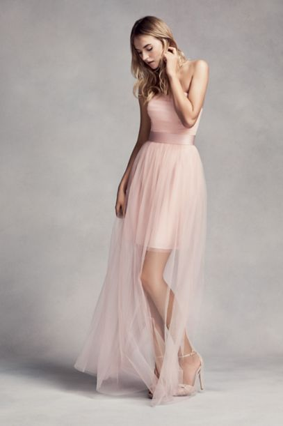 Bridesmaid Dress With Illusion Overskirt David S Bridal
