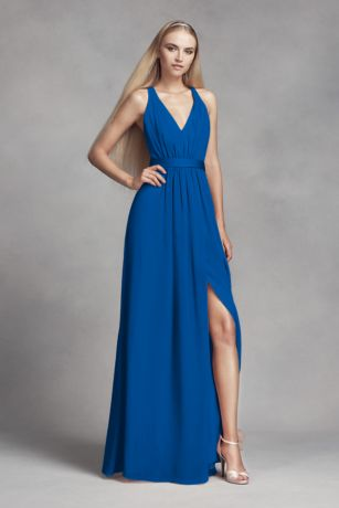 Long chiffon dress with low crisscross back