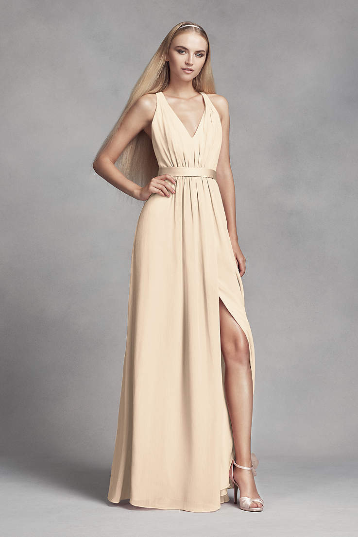b31da64f422 Soft   Flowy White by Vera Wang Long Bridesmaid Dress