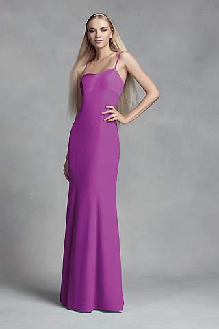 Vestido Para Dama de Crepe y Satín Con Abertura en la Espalda