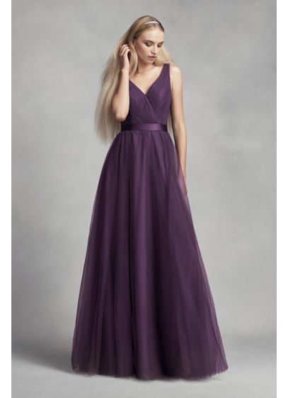 Tulle Surplice Bridesmaid Dress With Lace Back David S