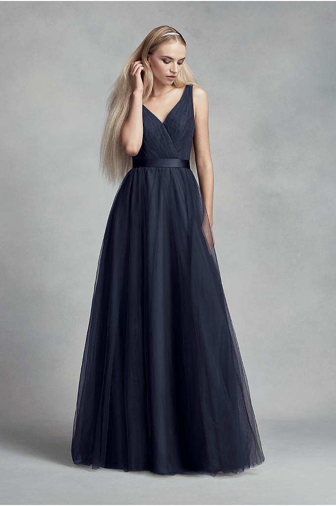 Tulle Surplice Bridesmaid Dress with Lace Back