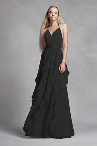 Vestido de Chiffon Con Falda de Cascada de Olanes