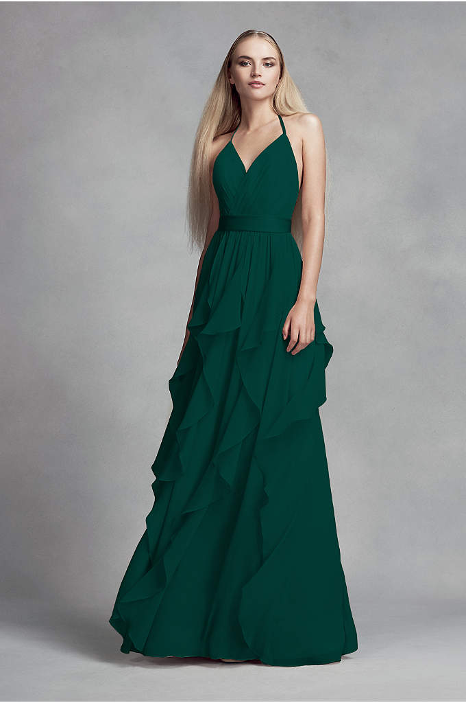 Chiffon Bridesmaid Dress with Cascading Skirt - A sleek dress for modern 'maids, this surplice-bodice