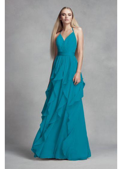 Chiffon Dress with Cascading Ruffled Skirt | David\'s Bridal