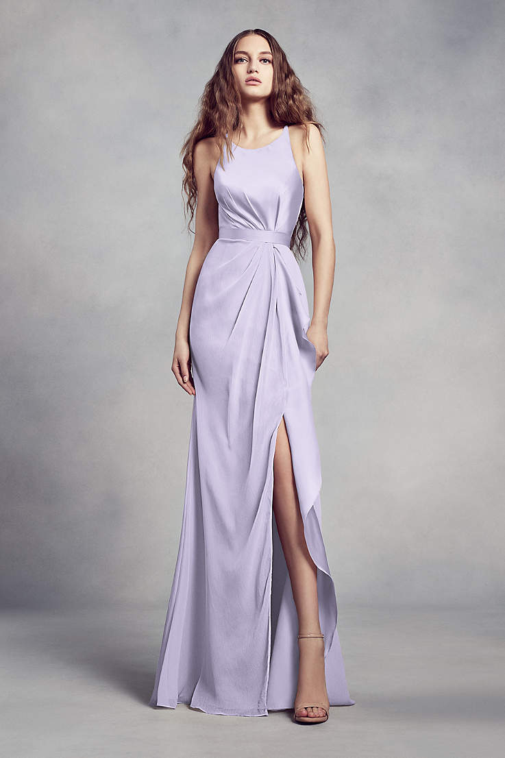 fb7633f7c49d Soft & Flowy;Structured White by Vera Wang Long Bridesmaid Dress