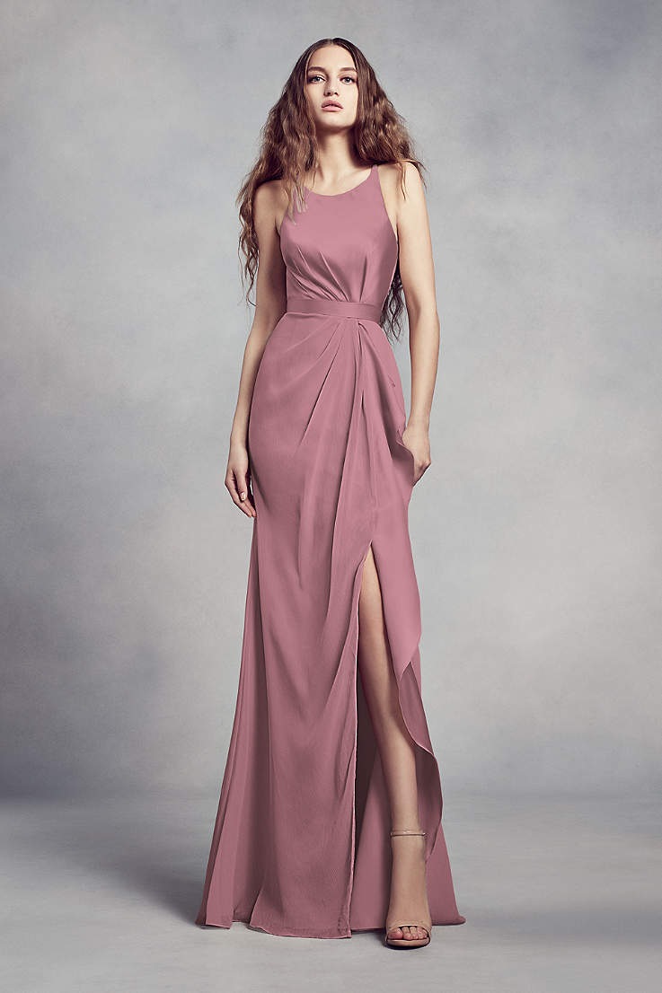 6efda29ed9 Soft   Flowy Structured White by Vera Wang Long Bridesmaid Dress