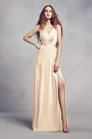 Soft Flowy White By Vera Wang Long Bridesmaid Dress